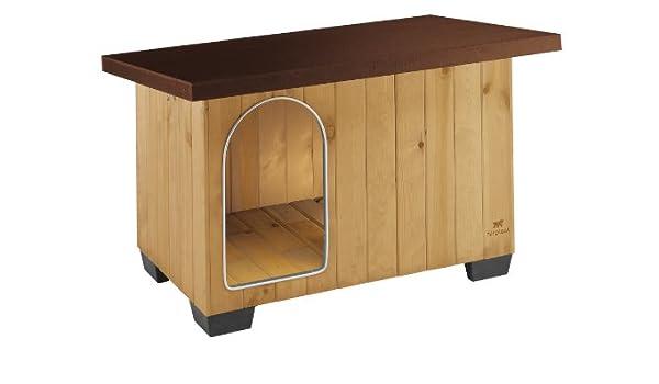Feplast 87015000 Caseta de Exterior para Perros Baita 80, Robusta Madera Ecosostenible, Pies de Plástico, Puerta con Revestimiento Resistente A Las ...