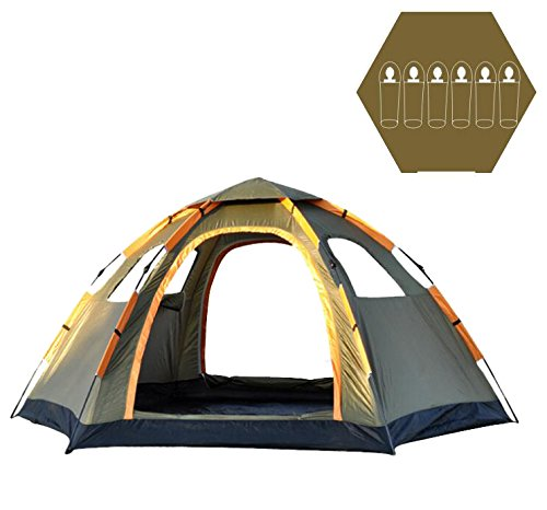 OILEUS 6 Person Tent Family Tents for Camping - Automatic Instant Set-up, Easy Fold, Rain Proof, Perfect for Backpacking, Hiking, Travel, Beach, (Automatic Set)