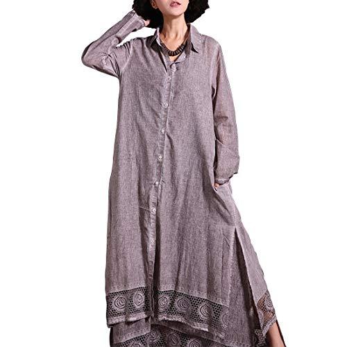 alero 女性のヴィンテージフルスリーブレースのかぎ針編み裾ボタンロングシャツカーディガン