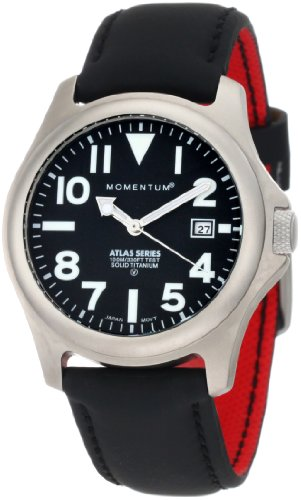 Momentum Men's 1M-SP00B12B Atlas Black Dial Black Touch Leather Watch