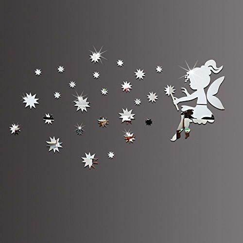 ufengke home Pegatinas de Pared de 3D Hada Estrellas Espejo Plata Decorativo Extraíble de Doble Cara de Plástico DIY Moda...