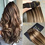 Sunny Two Tone Balayage Clip in Human Hair Extension 24 Inches Brown to Blonde Remy Clip in Extensions 120gram Full Head Set