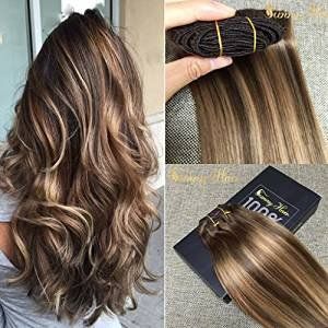 Sunny Dip and Dye Ombre Clip in Human Hair Extension 18 Inches Remy Full Head Brown to Blonde Remy Clip in Extensions 7pcs 120gram