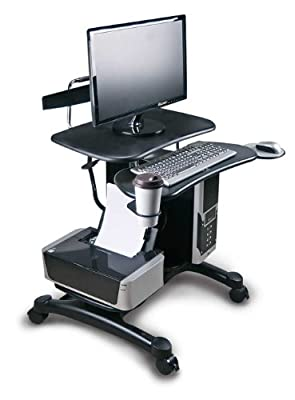 Aidata Ergonomic Sit-Stand Mobile Computer Desk Work Station Cart with Keyboard Tray, CPU Holder, Printer Shelf, Mouse Pad and Cup Holder (Model: PCC004P)