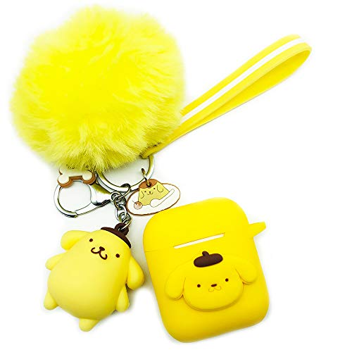 Ztowoto Airpods Case Keychain Protective Silicone Cover and Skin for Apple Airpods Charging Case with Airpods Pet Keychain and Airpods Staps (Yellow-budinggou)