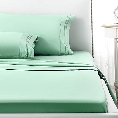 (1 INCH Full Sheet Set, 4 Piece 1800 Series Premium Brushed Microfiber Bed Sheets, Breathable Cooling Comfy Bedding with Deep Pocket for Toddler Room, Guest Room, Hotel, RV (Light Green, Full))