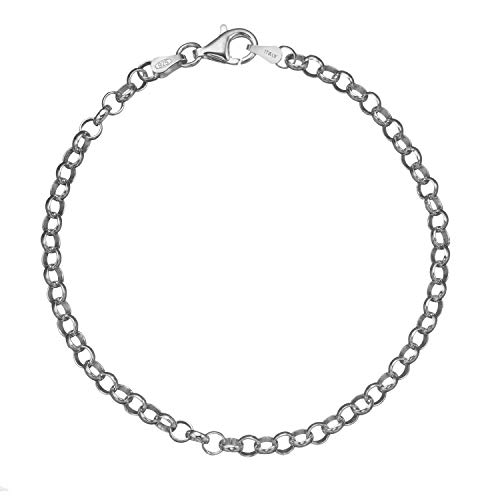 (Solid 925 Sterling Silver 4mm Italian Round Rolo Cable Link Chain Bracelet - 7