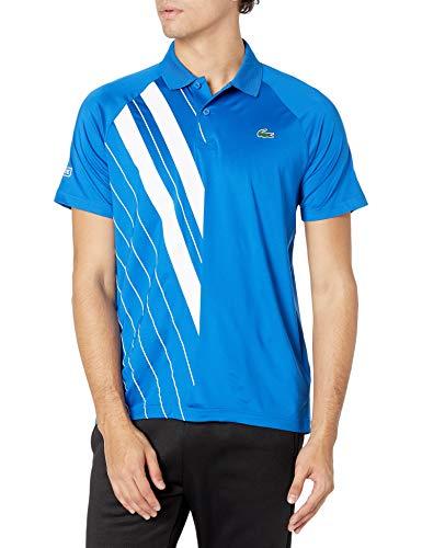 Lacoste Men's Sport Short Sleeve Novak Djokovic on Court Ultra Dry Striped Polo Shirt