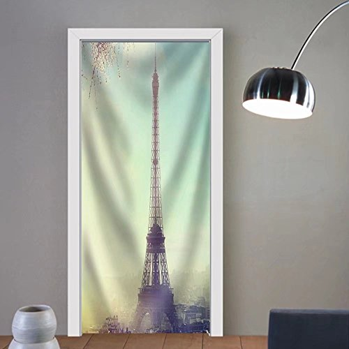 Gzhihine custom made 3d door stickers Aerial View of Paris Cityscape with Eiffel Tower at Sunset Vintage Colored Picture. Business Love and Travel Concept Fabric Home Decor For Room Decor by Gzhihine