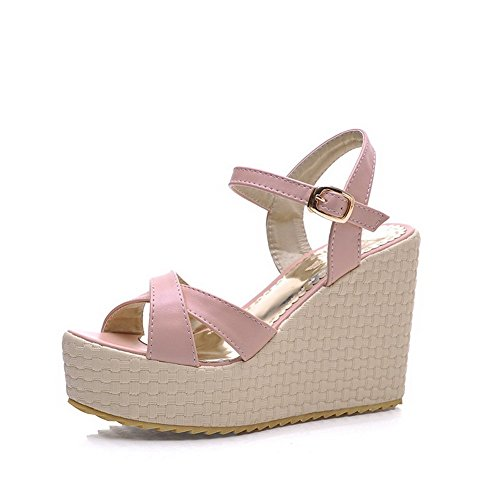 AllhqFashion Womens Buckle Open Toe High Heels Solid Platforms & Wedges Pink