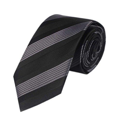 Mens' Fashion Business Solid, Woven, Stripes Necktie Tie,Grey Black Straps