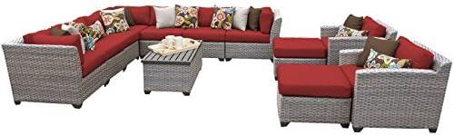 TK Classics FLORENCE-13a-TERRACOTTA 13 Piece Outdoor Wicker Patio Furniture Set