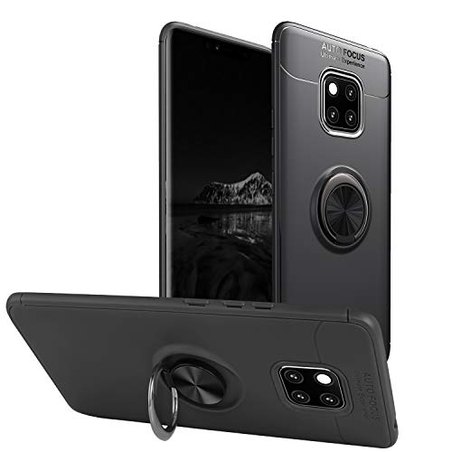 Newseego Compatible with Huawei Mate 20 Pro Case,360 Degree Adjustable Ring Stand, Frosting Thin Soft Shockproof Protective and Ring Holder Metal Kickstand Fit Car Mount Cover-Black+Silver