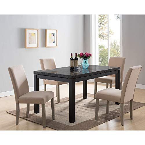 Shop Now For The Benzara Wooden Rectangular Dining Table Base With Faux Marble Top Black And Brown Accuweather Shop