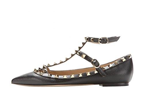 Arc-en-ciel zapatos de las mujeres del dedo del pie en punta hebilla tachonada pisos Negro matte