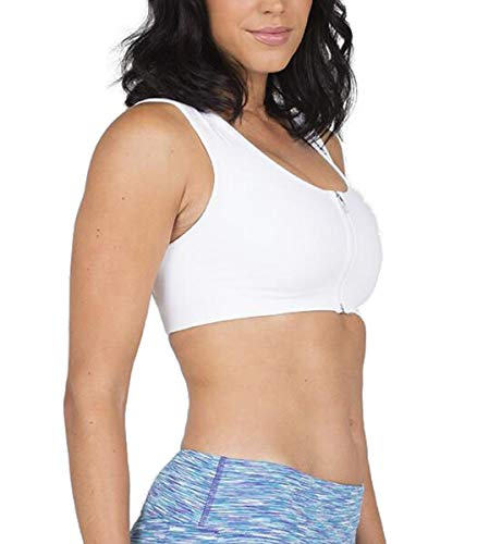 ALIGNMED AlignSport Sports Bra Seamless - Increase Upper Body Strength & Oxygen Intake, Improve Support During Exercise & Shoulder Mechanics - for All Fitness Activities (X-Large, White)