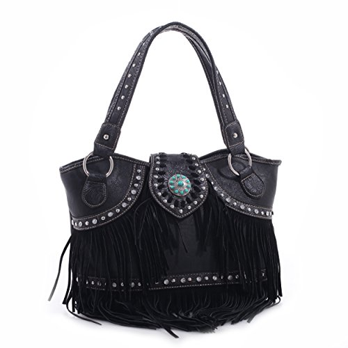 Western Style Tote With Concho And Fringe (black) Mj5100