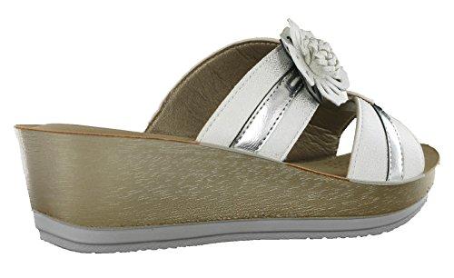 Er05 Cinturino con Glamour INBLU White Sandali alla Caviglia Donna Oqtw0