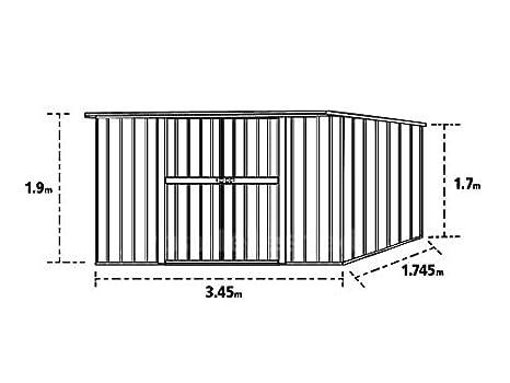 Enaudi - Caseta de jardín de chapa color madera para depósito de herramientas, 345 x 186 x 192 cm: Amazon.es: Jardín