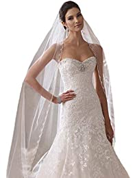 092be8d758b Floral Beaded Scallop Edge Cathedral Wedding Bridal Veil 224