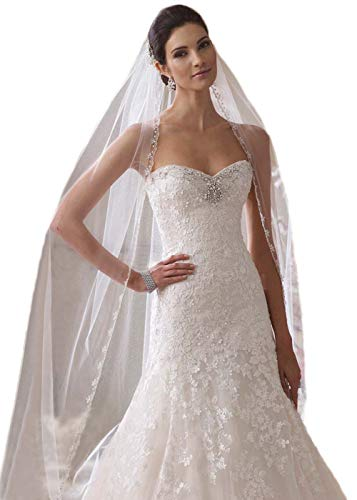 Passat Ivory 1 Tier 3M NEW! Floral Beaded Scallop Edge Cathedral Wedding Bridal Veil 224 -
