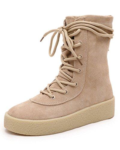 Minetom Mujer Retro Otoño Invierno Plano Botines Calentar Botas De Nieve Lazada Zapatos Martin Botas camello