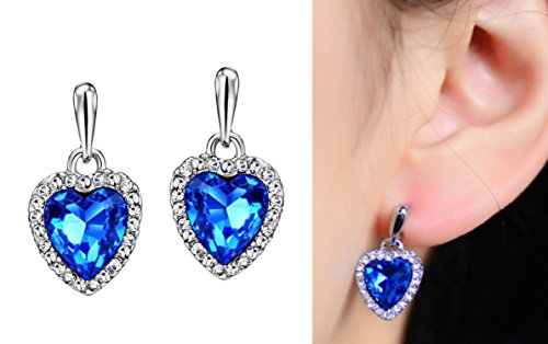 Ananth Jewels Swarovski Ocean Blue Crystal Platinum Plated Heart Shaped Earrings for Women (Best Heart Touching Dp)