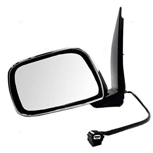 Drivers Power Side View Mirror with Chrome Replacement for Nissan Frontier Pathfinder Xterra Suzuki Equator Pickup Truck 96302EA015 ()
