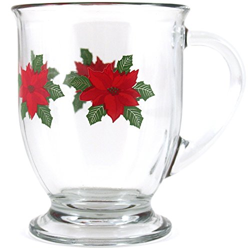 Anchor Hocking Holiday Poinsettia Cafe Mug, Set of 6