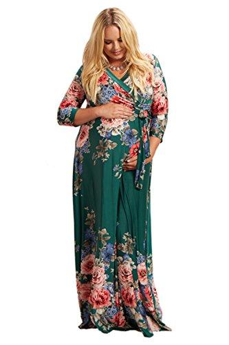 PinkBlush Maternity Green Floral Sash Tie Plus Size Maxi Dress, 2X