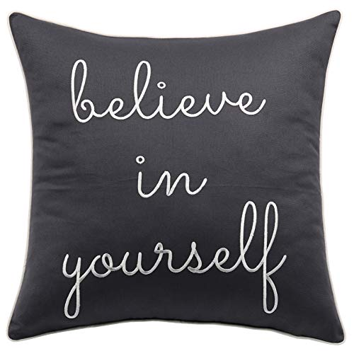 """Trivenee Tex Pillowcase Embroidered Funny Inspirational Quote Throw Pillow Cover Decorative Pillowcase for Couch Sofa Gift for Graduation Teen Boys Girls Christmas (Believe(Grey), 18""""X18"""")"""