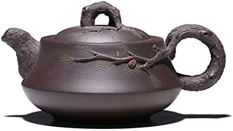 Teapot 2019 Origin Source Yixing Pure Handmade Teapot Tea Set Complete Set of Three Friends Teapot Business Gift (Color : Raw ore old purple mud)