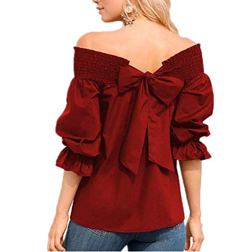 Womens Shirts Summer Puff Sleeve Off Shoulder Bow Bandage Casual Tunic Tops Blouse T-Shirt for Ladies Teen Girls