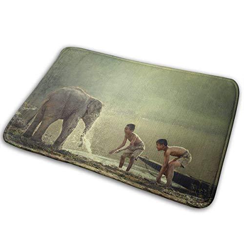(ABOUtshoc Soft Door Mats Two Boys are Playing Splashing Water with Baby Elephant at Pond Doormats Anti-Slip House Garden Gate Carpet Door Mat Floor Pads 15.7