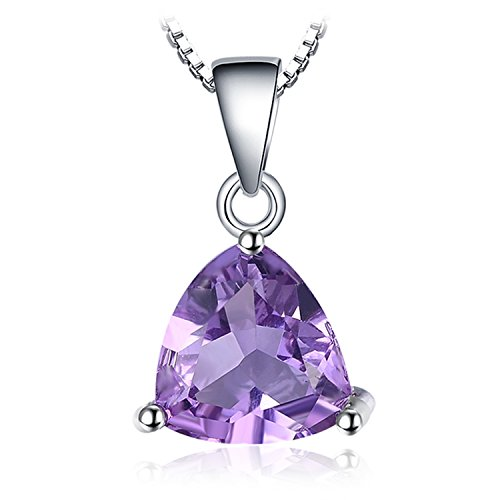 JewelryPalace Gemstones Birthstone Necklace For Women 925 Sterling Silver Solitaire Pendant Necklace For Girls 1.7ct Natural Amethyst Necklace Chain Box 18 Inches Triangle Cut