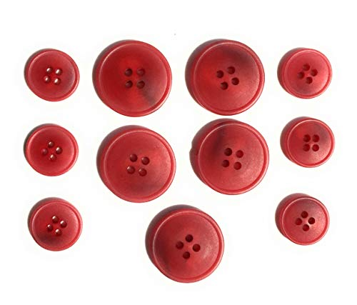RED BUTTON SET -Tailored 4 Hole-Marbelized Finished ~ For Blazer, Suits, Sport Coat, Uniform, Jacket, Dresses 11 Pc. (Suits And Sportcoats)