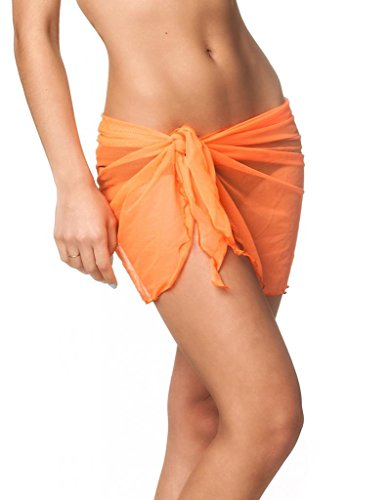 Coqueta Mesh Cover up Swimwear Beach Sarong Pareo Canga Swimsuit Wrap ORANGE-O/S