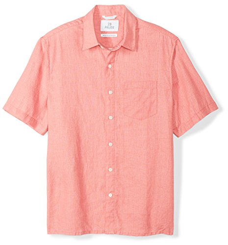 (28 Palms Men's Relaxed-Fit Short-Sleeve 100% Linen Shirt, Coral, Large)