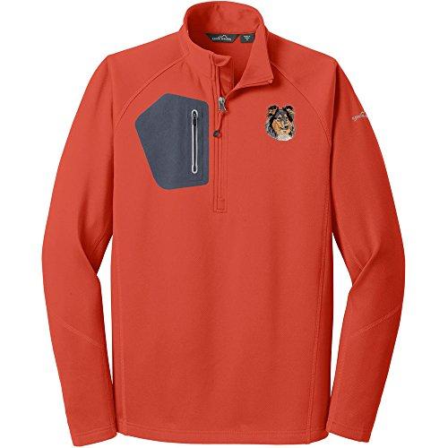 (Cherrybrook Dog Breed Embroidered Eddie Bauer Mens Half Zip Performance Fleece Jacket - Medium - Cayenne Orange - Collie)