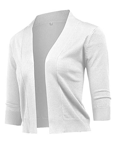 URRU Women's Knit Cardigan Christmas Sweaters 3/4 Sleeve Open Front Shrug Cropped Bolero White XL -