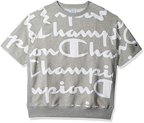 Champion Logo Print Mens Short Sleeve T-Shirt Crew Neck Top White Fashion