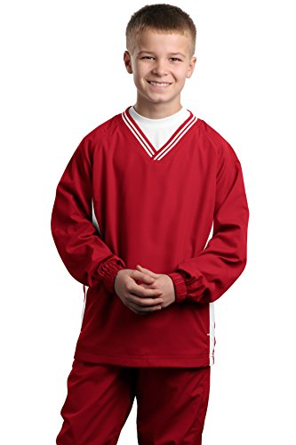 Sport-Tek Youth Tipped V-Neck Raglan Wind Shirt, L, True Red/White - Tipped Jersey Sport Shirt
