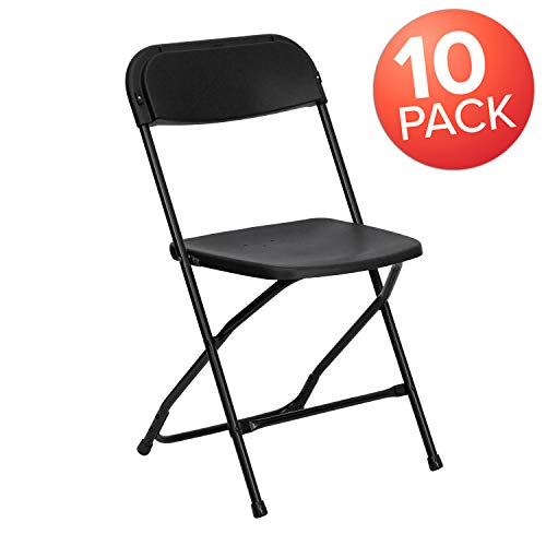 Flash Furniture 10 Pk. HERCULES Series 650 lb. Capacity Premium Black Plastic Folding Chair