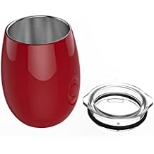 Unbreakable Stemless Wine Glasses for Women | Insulated Lowball Wine Tumbler by Revel Gifts | Stainless Steel Wine Glass with Lid | Great Gifts for Women (Red)