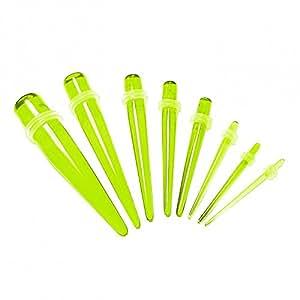 1 Set Dilatador Taper Plug para el túnel estensore piercing varilla de expansión verde fluorescente 1