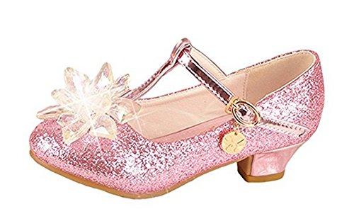 YOGLY Zapatos de Princesa Zapatos de Tacón de Moda para Niñas Brillante Sandalias para Fiesta Carnaval Rosa