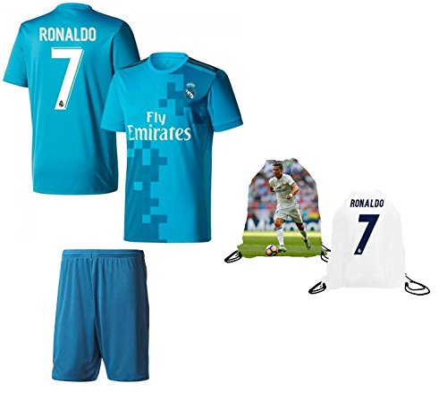 Fan Kitbag Ronaldo #7 Madrid Home Youth Soccer Jersey & Shorts Kids Premium Gift Kitbag ✮ BONUS Ronaldo #7 Drawstring Backpack (Youth Small 6-8 years, Home Short - Premium Jersey