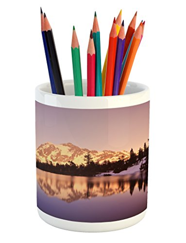Lunarable Landscape Pencil Pen Holder, Snow Capped Mt Shuksan and Lake at Sunset Evening National Forest Washington, Printed Ceramic Pencil Pen Holder for Desk Office Accessory, Yellow Purple