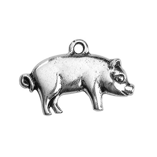 PEPPERLONELY 30pc Antiqued Silver Alloy Pig Animal Charms Pendants 20 x13mm(6/8