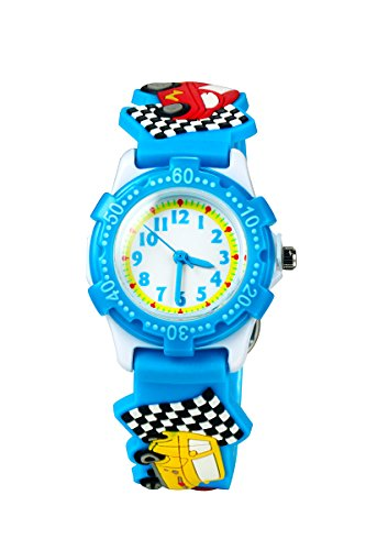 ELEOPTION Waterproof 3D Cute Cartoon Digital Silicone Wristwatches Time Teacher Gift for Little Girls Boy Kids Children (Little Car Blue)